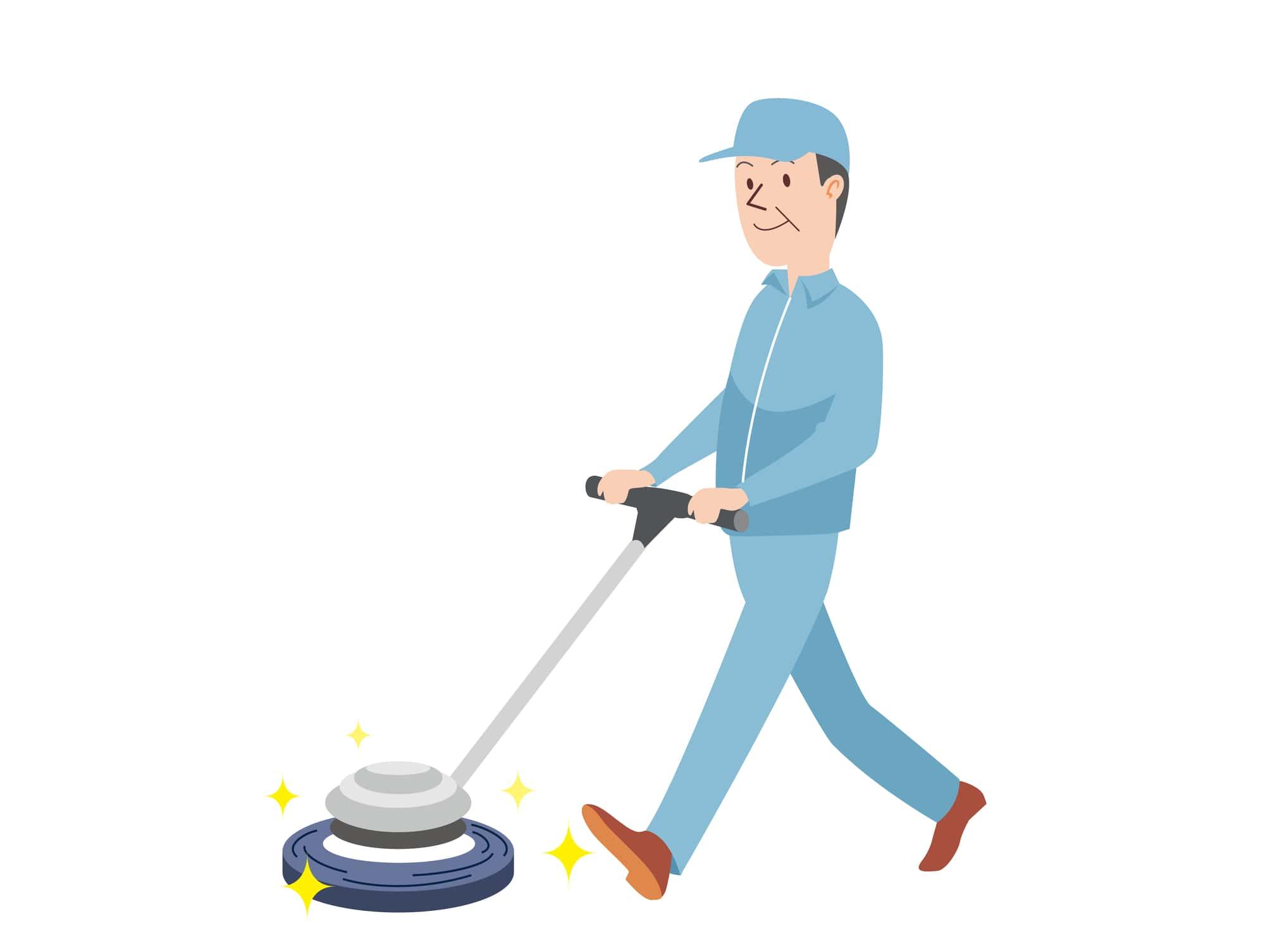 ポリッシャーによる清掃